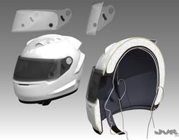 Car Helmet Cutaway 3D Model