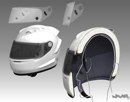 Car Helmet Cutaway 3D Model