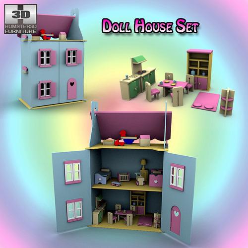 Doll House Set 013D model
