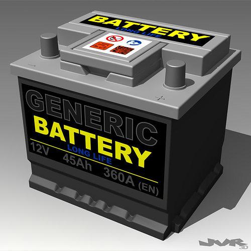 generic car battery 3d model max 3ds fbx pdf 1