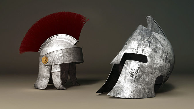 spartan and roman helmet 3d model obj fbx ma mb stl mtl 1