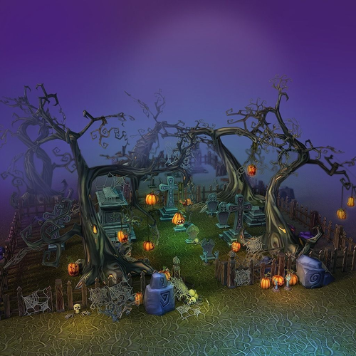 Low Poly Cemetery Halloween Set3D model