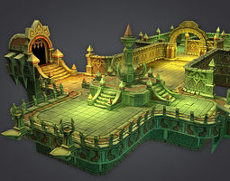cloudy dungeon 3d asset low-poly