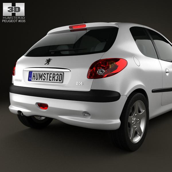 Peugeot 108 3 Door 1 0 Active Hatchback: Peugeot 206 Hatchback 3-door 2005 3D Model MAX OBJ 3DS FBX