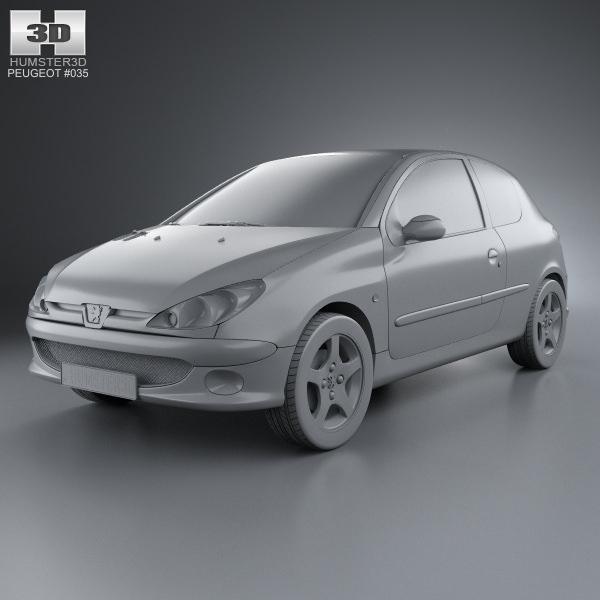 Peugeot 108 3 Door 1 0 Active Hatchback: Peugeot 206 Hatchback 3-door 2005 3D Model .max .obj .3ds