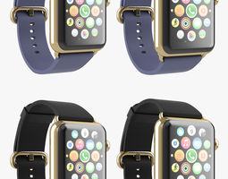 apple watch edition gold classic leather all color 3d model animated