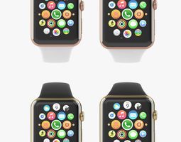 apple watch edition yellow rose gold sport all color 3d model animated max obj