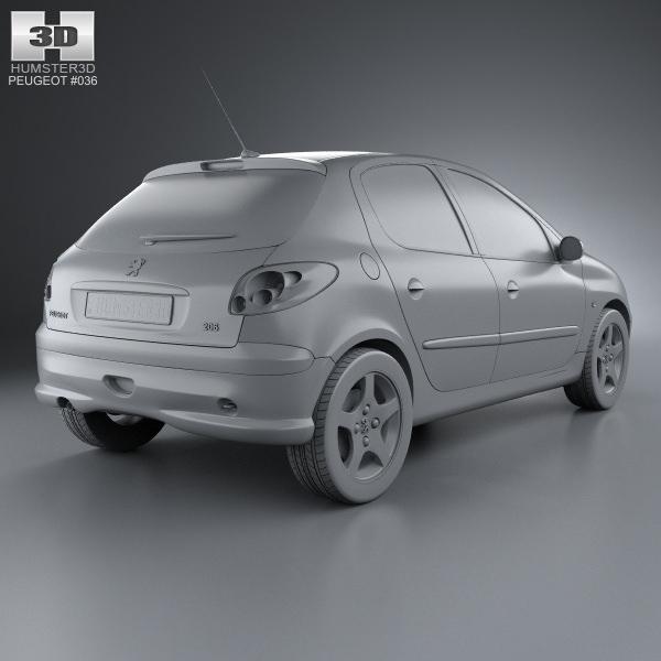 Peugeot 108 3 Door 1 0 Active Hatchback: Peugeot 206 Hatchback 5-door 2005 3D Model MAX OBJ 3DS FBX