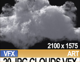 visual fx 20 jpg maps clouds for alpha-planes compositing 3d model