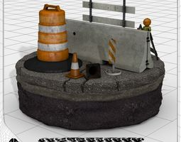 3d model construction and traffic safety set