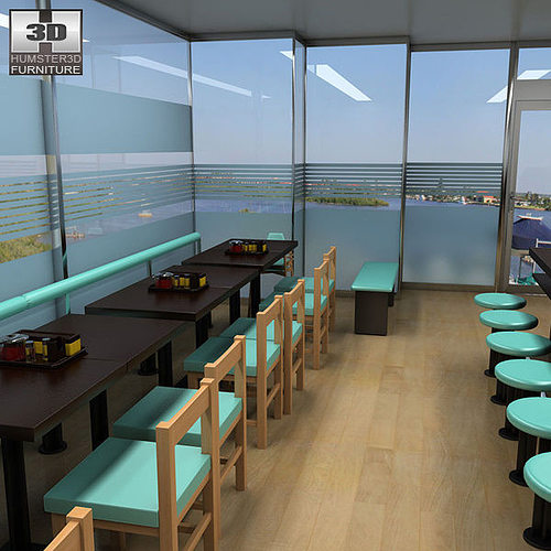3d model fast food restaurant vr ar low poly max obj for Restaurant 3d max