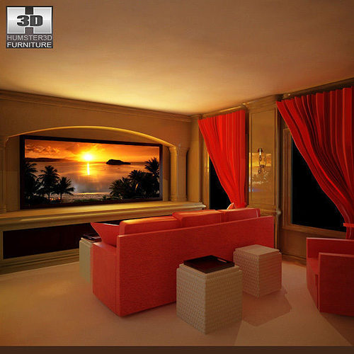 3d asset home theater set 04 cgtrader for Theatre model