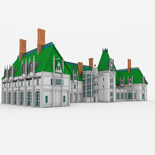 3d model biltmore house cgtrader for Exterior 3d model