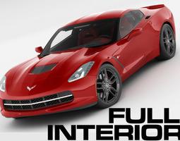 chevrolet corvette stingray with interior 3d model max obj 3ds fbx c4d lwo lw lws