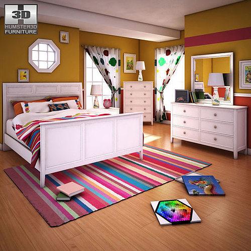 3d Asset Ashley Caspian Panel Bedroom Set Cgtrader