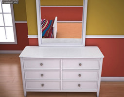 Ashley Caspian Panel Dresser Mirror 3D Model