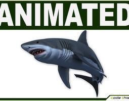 white shark hi poly 3d model rigged animated max fbx