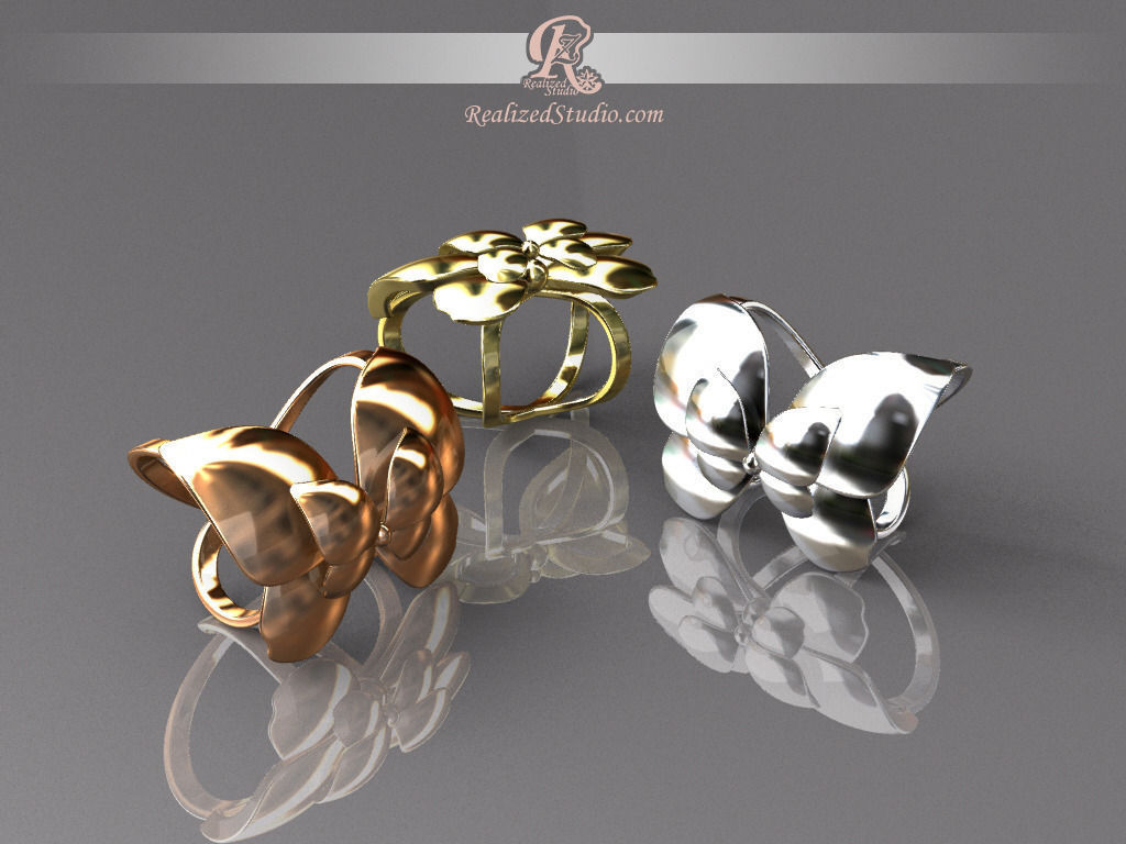 Dream of butterfly scarf ring holder 3d model 3d printable for Jewelry stand 3d model