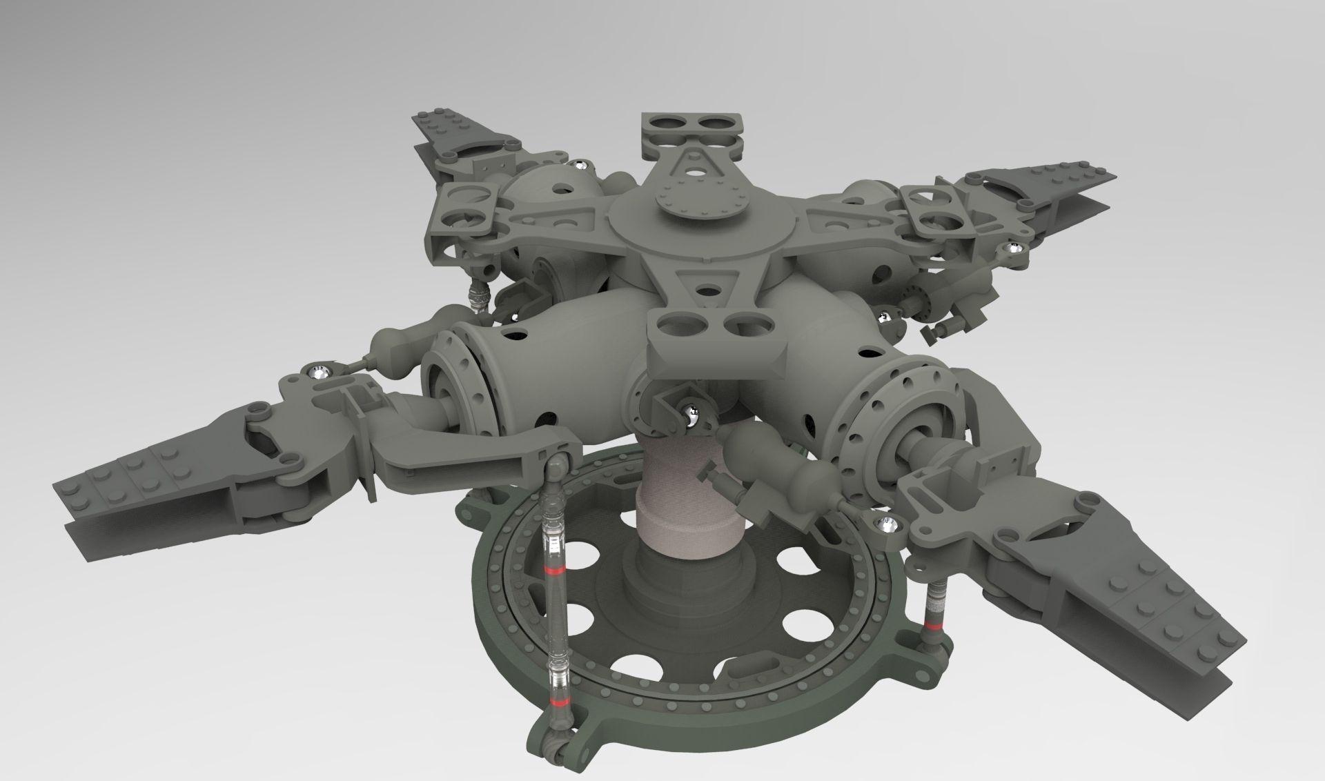 Uh 60 Black Hawk Main Rotor Head Free 3d Model Sldprt
