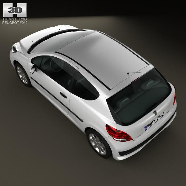 Peugeot 108 3 Door 1 0 Active Hatchback: Peugeot 207 Hatchback 3-door 2012 3D Model MAX OBJ 3DS FBX