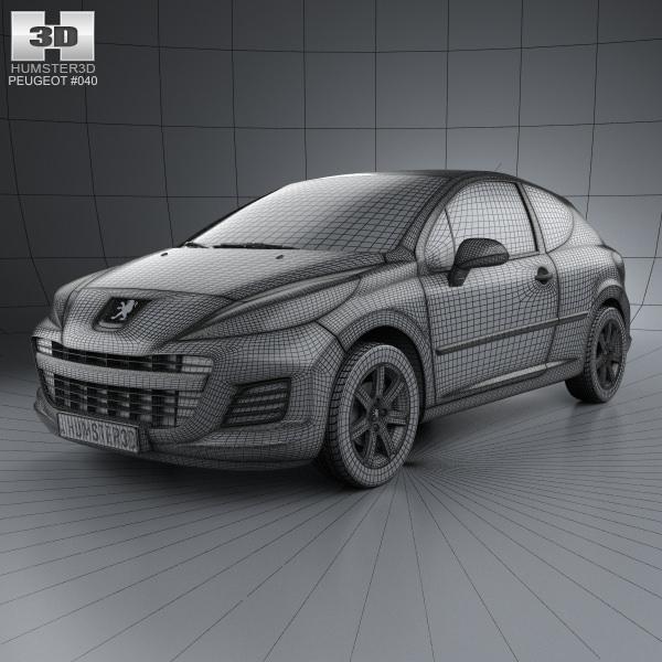 Peugeot 207 Hatchback 3-door 2012 3D Model MAX OBJ 3DS FBX