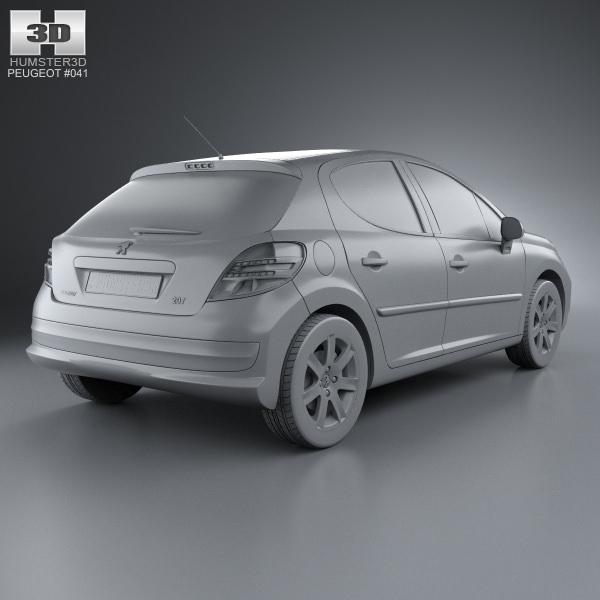 Peugeot 108 3 Door 1 0 Active Hatchback: Peugeot 207 Hatchback 5-door 2012 3D Model MAX OBJ 3DS FBX