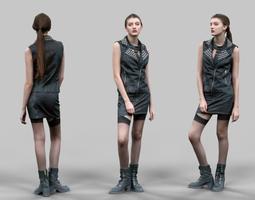 game-ready 3d model biker girl