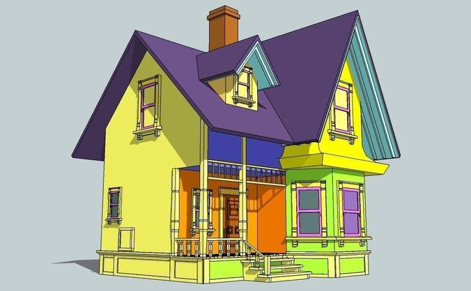 House From Animation Movie Up 3d Model Game Ready Obj