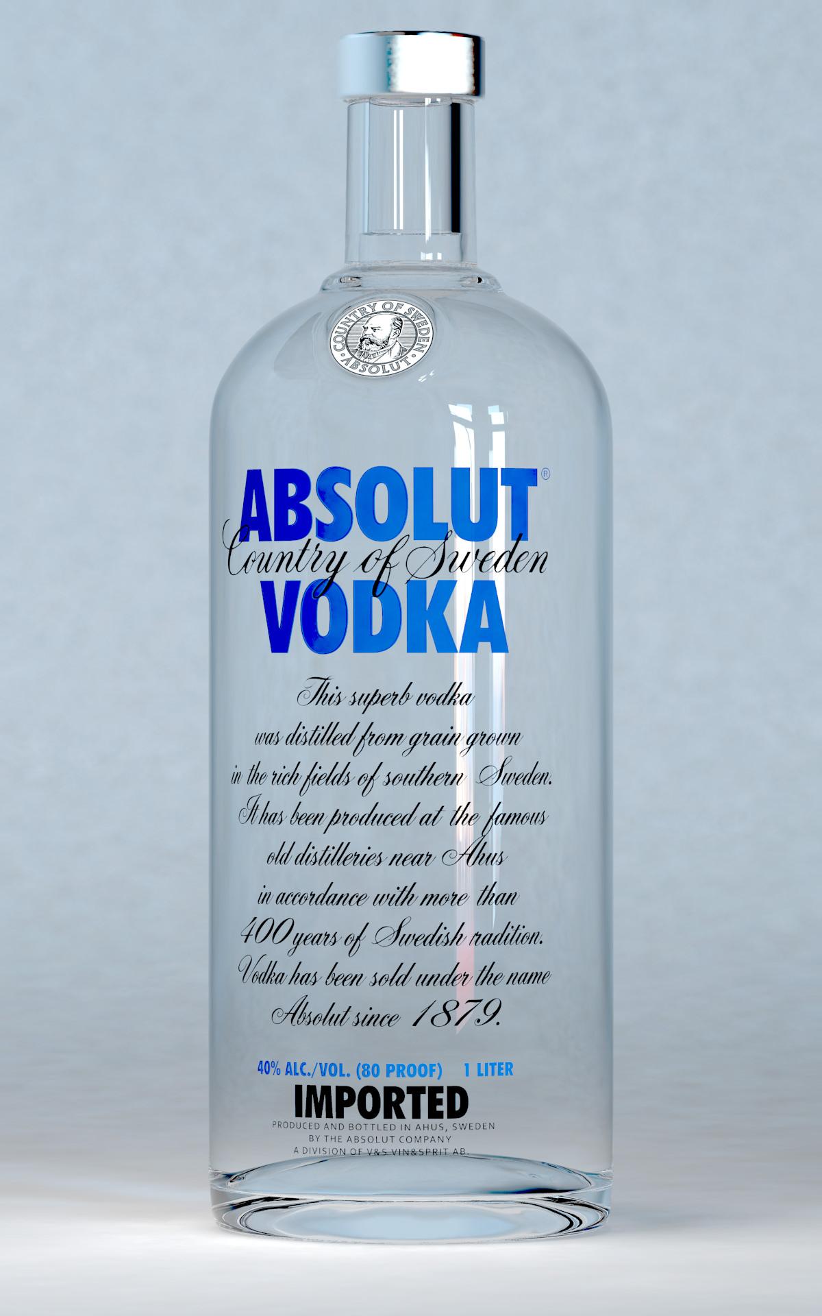 Absolut Vodka Bottle 3D Model .fbx .ma .mb - CGTrader.com