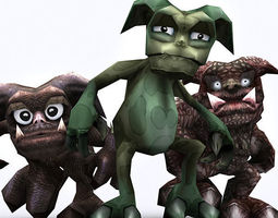 3drt - fantasy gremlins 3d model low-poly rigged animated
