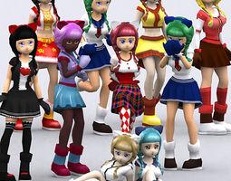 3DRT - Yoko Anime Girls  3D Model