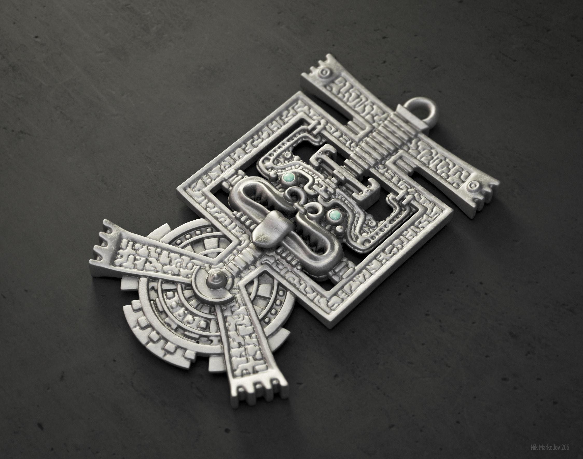 Aztec pendant hq version 3d print model cgtrader aztec pendant hq version 3d model stl 1 mozeypictures Images
