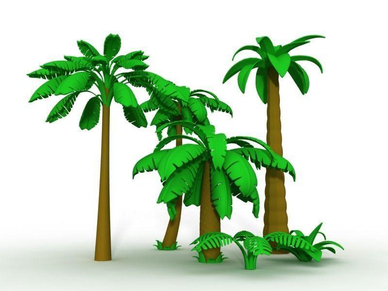Cartoon Palms Tree 3d Model Max Obj 3ds Fbx 3