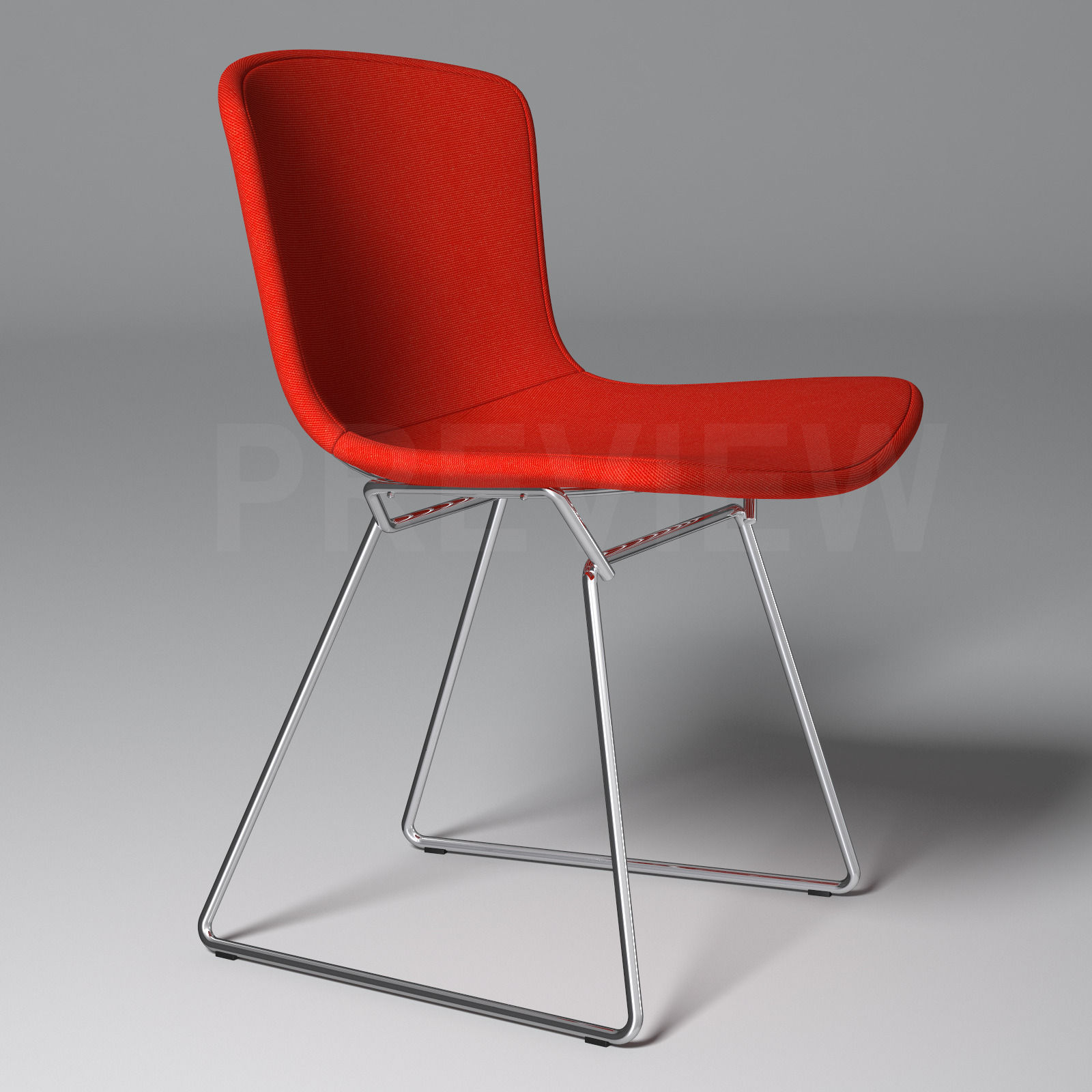 Bertoia Chair Knoll -  bertoia side chair with full cover knoll 3d model max obj fbx 4