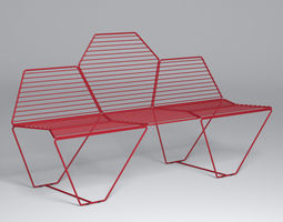 hexagon bench - casamania 3d model
