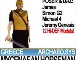 greek mycenaean horseman props poser daz 3d model