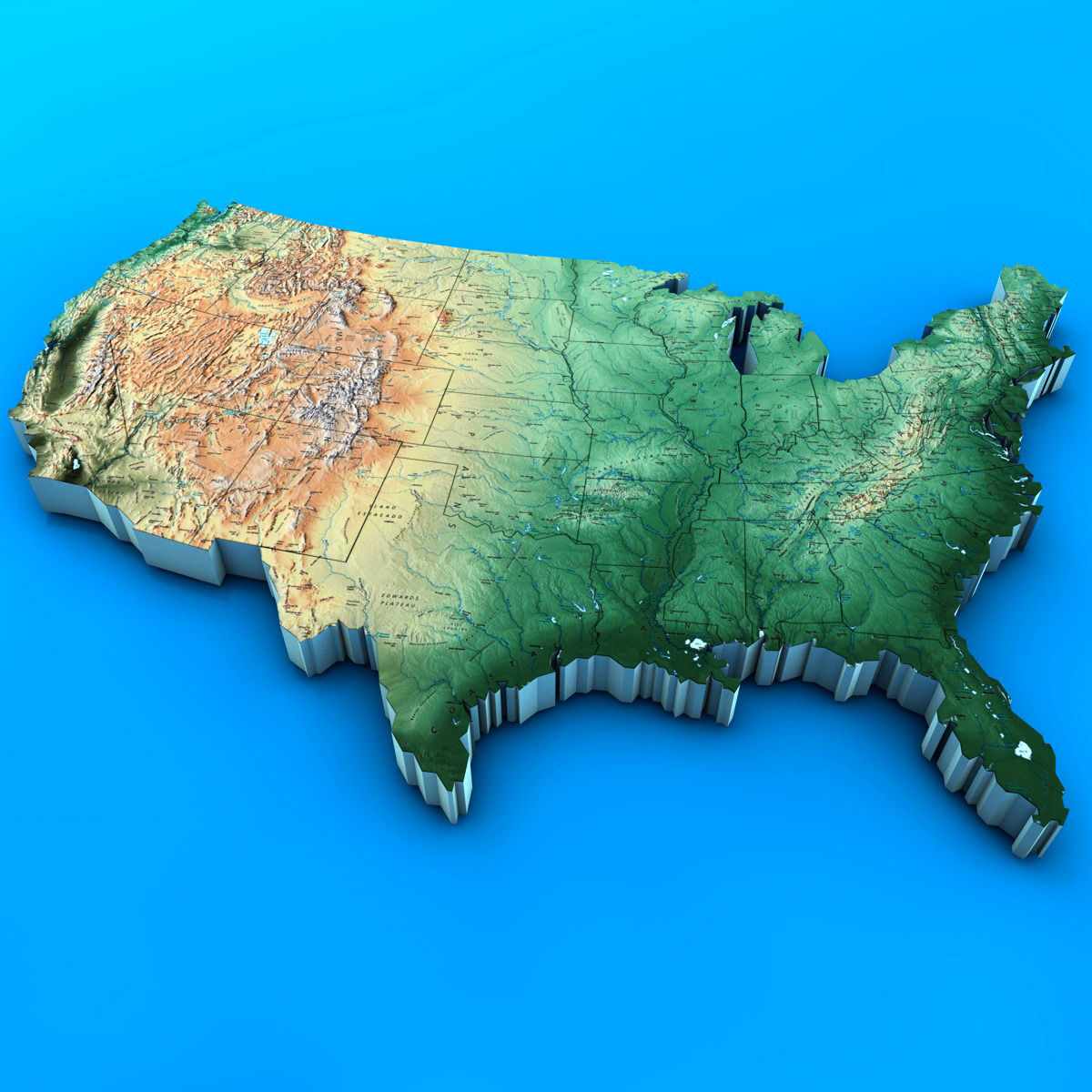 3d usa map cgtrader