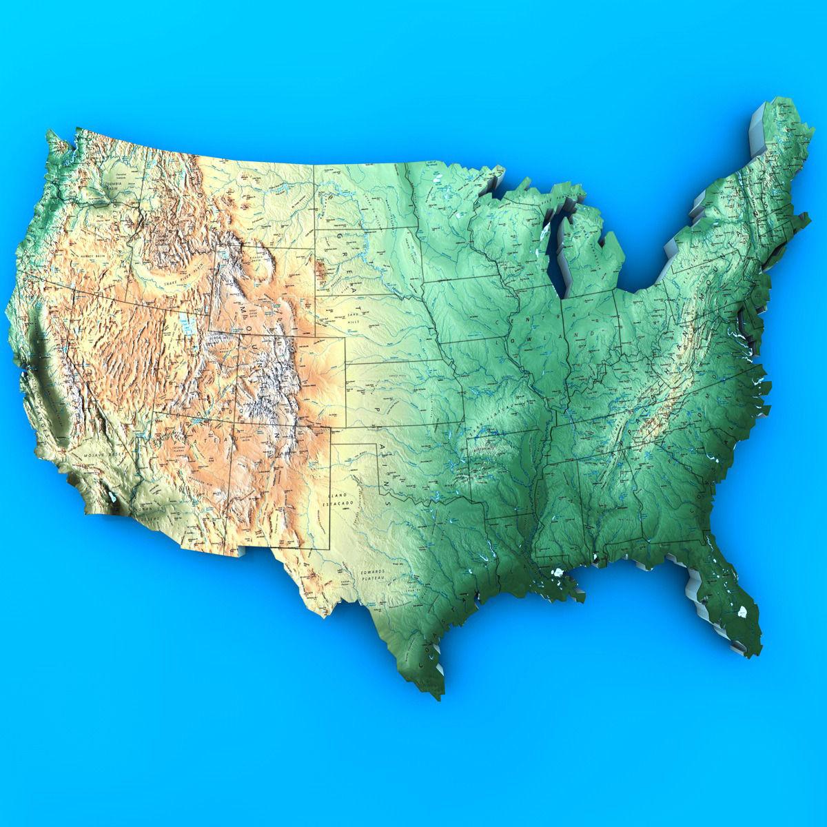 USA Map 3D Model MAX OBJ 3DS FBX C4D