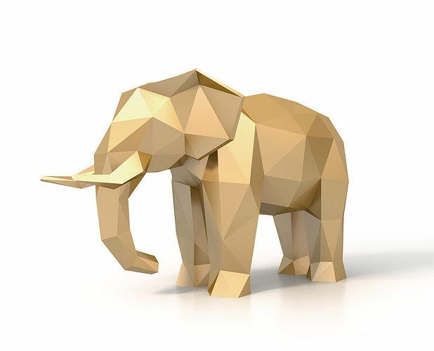 low poly elephant 3d model low-poly max obj 3ds fbx stl 1