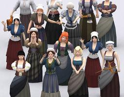 3DRT - Female Peasants Kit  3D Model