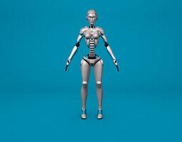 Sci-Fi Female Robot Rig 3D Model