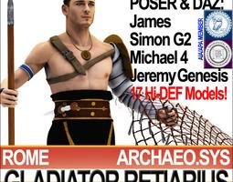 3D Roman Gladiator Retiarius Props Poser Daz