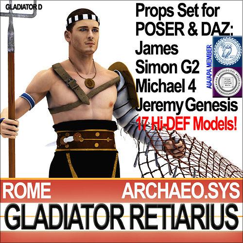 roman gladiator retiarius props poser daz 3d model obj mtl 3ds c4d dxf vue pz3 pp2 1