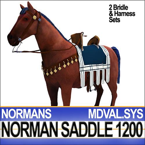saddle medieval norman bridle harness 1200 3d model obj mtl 3ds c4d dxf vue 1
