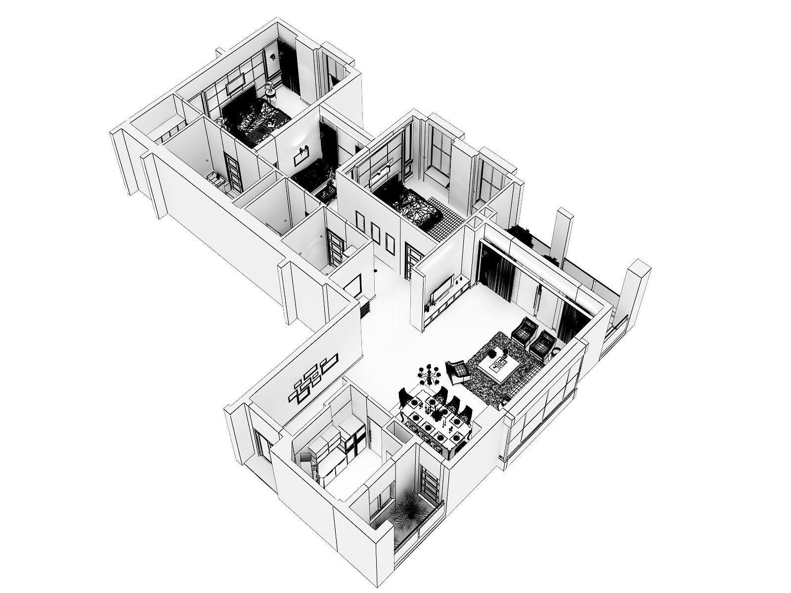 cutaway residential building 3d model cgtrader AutoCAD 3D Tutorial