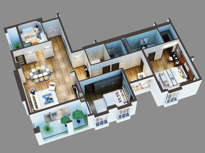 Cutaway Residential Building3D model