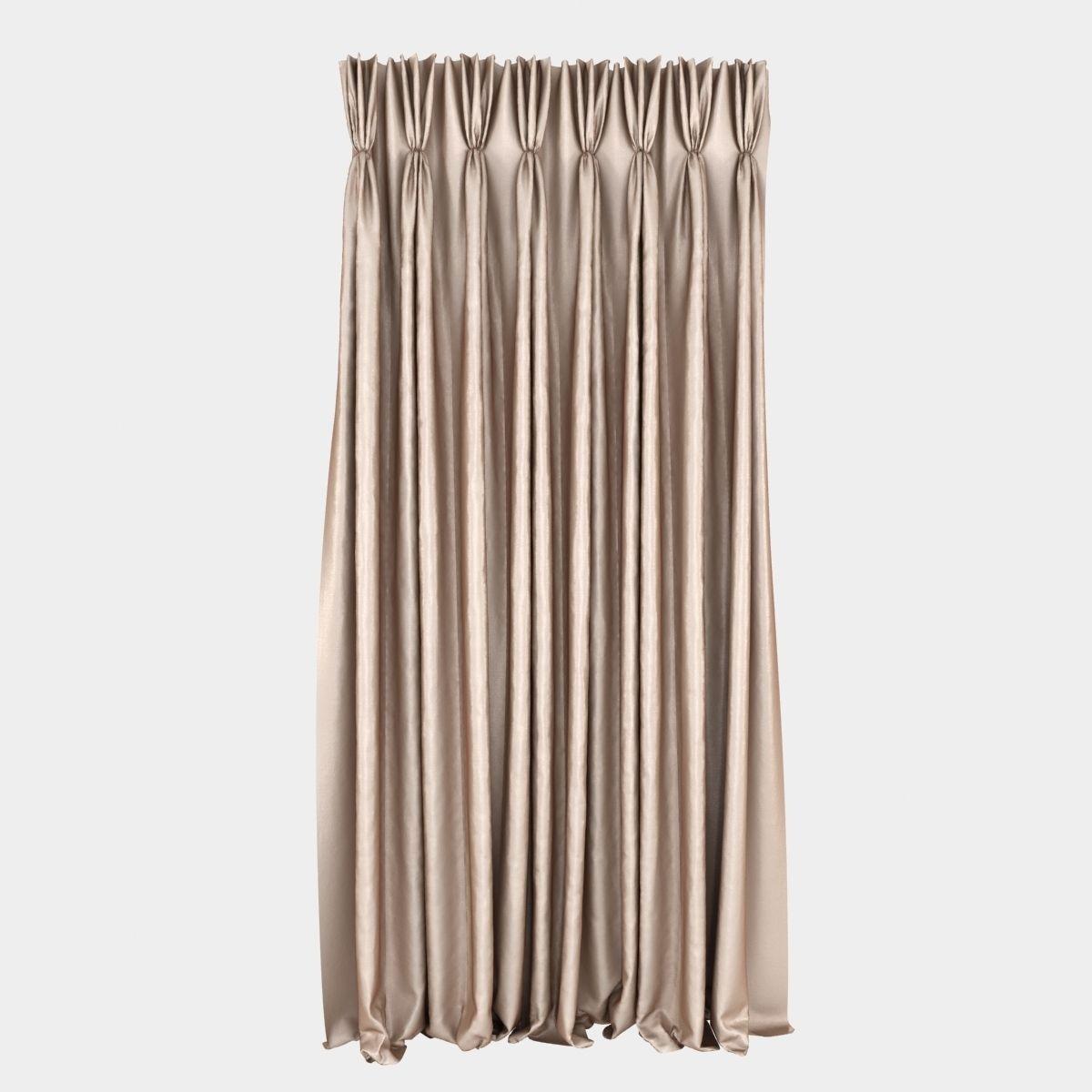 Pinch Pleat Curtain 3d Model Max Obj Fbx Mtl Unitypackage 1