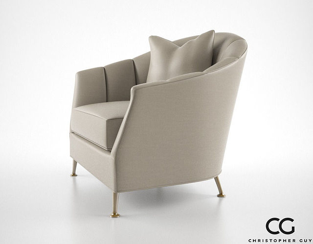 Charmant ... Christopher Guy Alexandrine Droite Armchair 3d Model Max Obj Fbx Mtl 3  ...