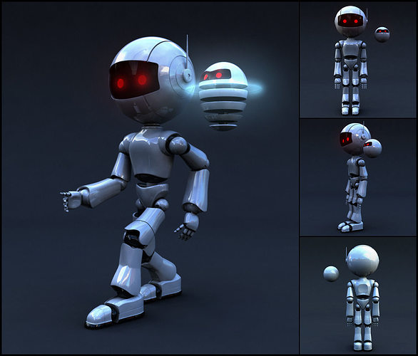robot full body rigged character 3d model low-poly rigged max obj mtl fbx ma mb 1