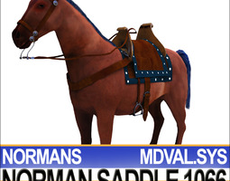 Saddle Medieval Norman Bridle Harness 1066 3D Model